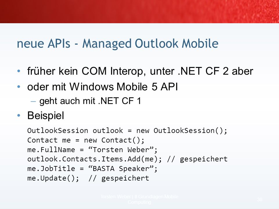 neue APIs - Managed Outlook Mobile