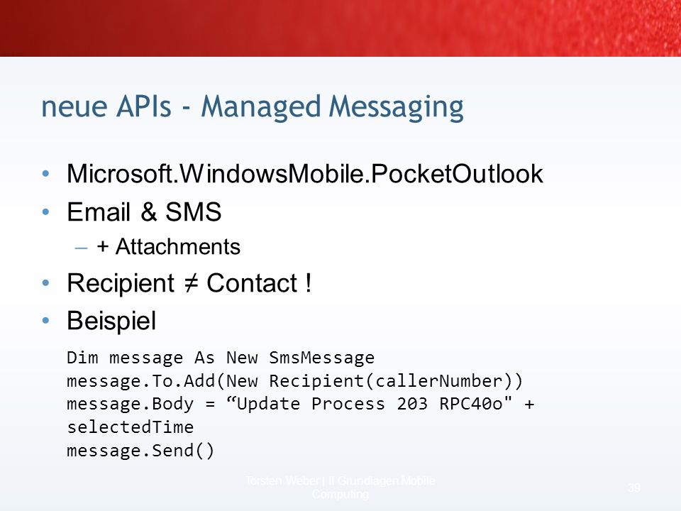 neue APIs - Managed Messaging