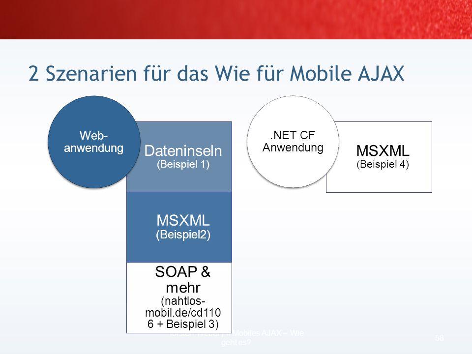 2 Szenarien für das Wie für Mobile AJAX