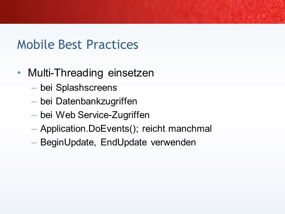 Mobile Best Practices Multi-Threading einsetzen bei Splashscreens