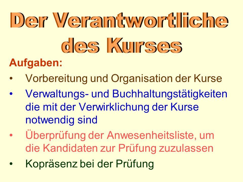 Vorbereitung und Organisation der Kurse