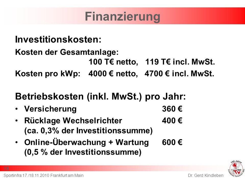 Finanzierung Investitionskosten:
