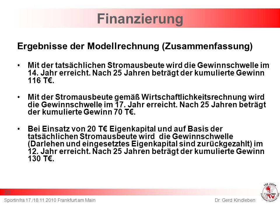 Finanzierung Ergebnisse der Modellrechnung (Zusammenfassung)
