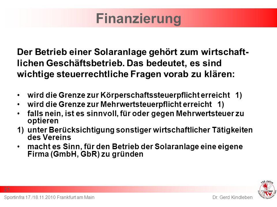 Finanzierung Der Betrieb einer Solaranlage gehört zum wirtschaft-