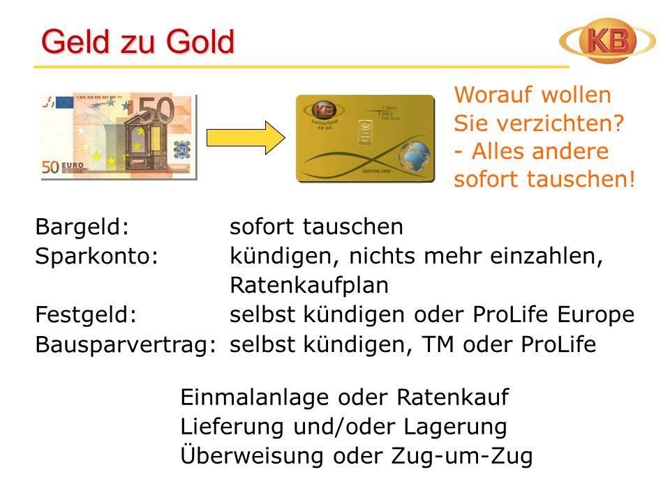 Geld zu Gold Worauf wollen Sie verzichten