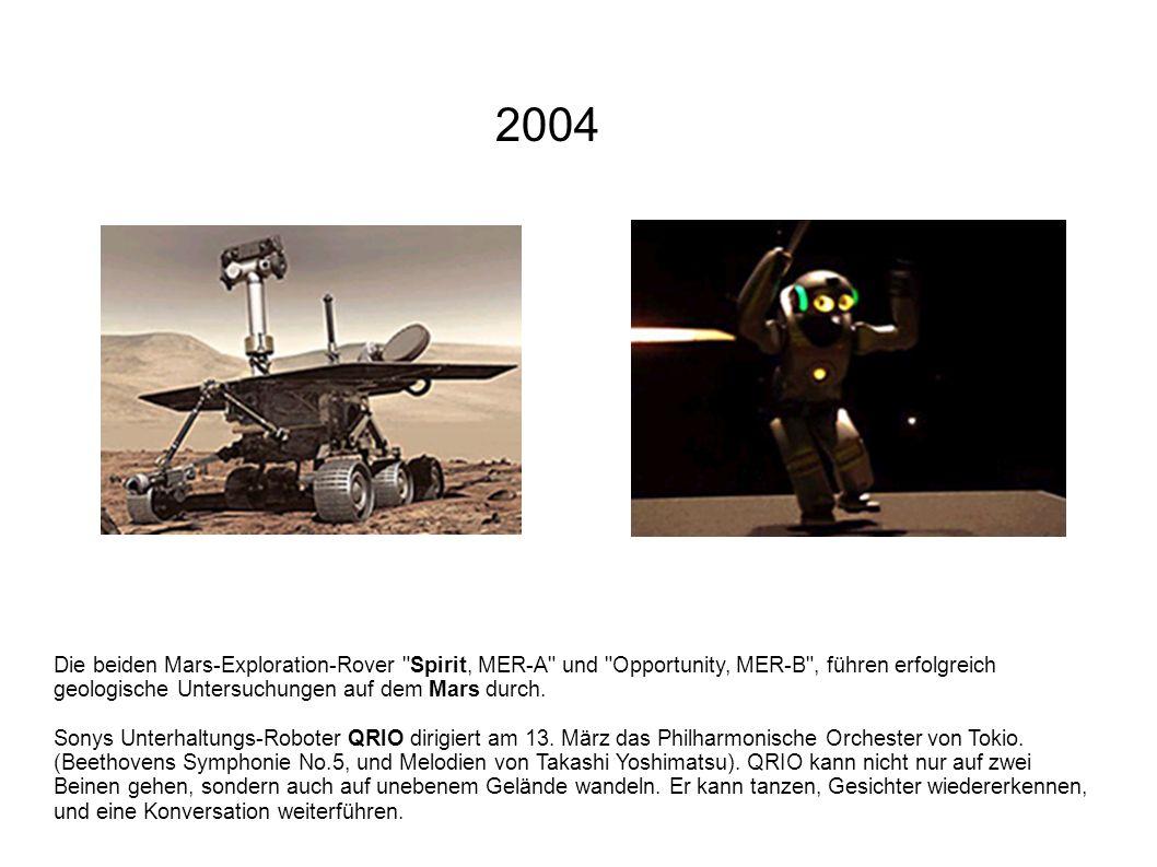 2004 Die beiden Mars-Exploration-Rover Spirit, MER-A und Opportunity, MER-B , führen erfolgreich geologische Untersuchungen auf dem Mars durch.