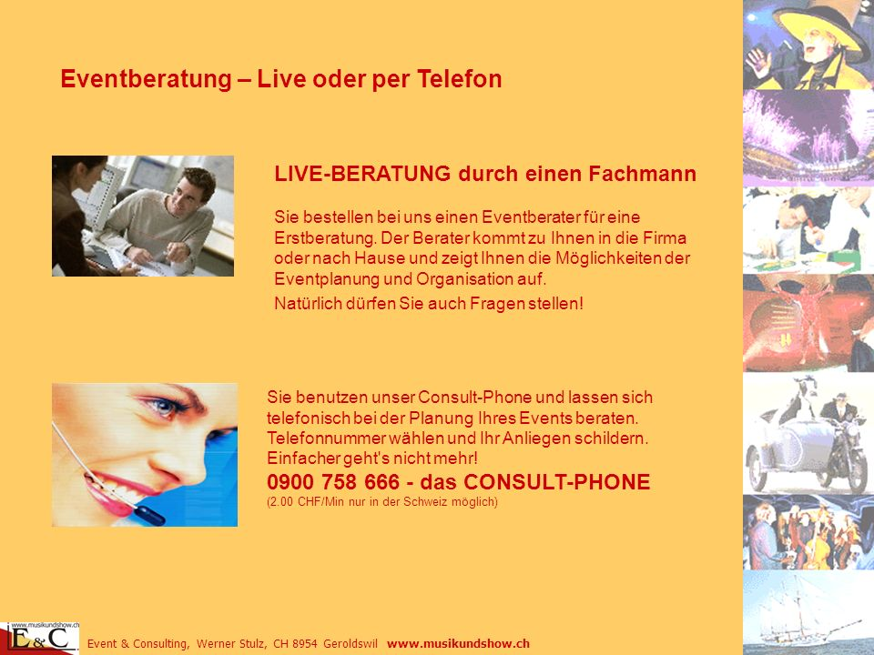 Eventberatung – Live oder per Telefon