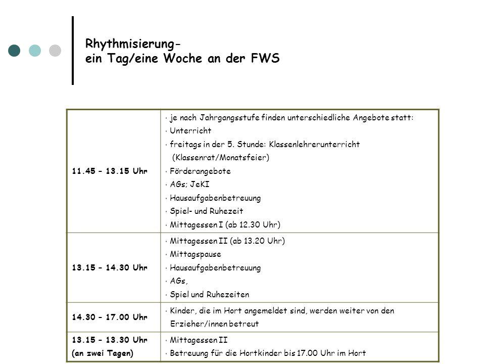 Rhythmisierung- ein Tag/eine Woche an der FWS
