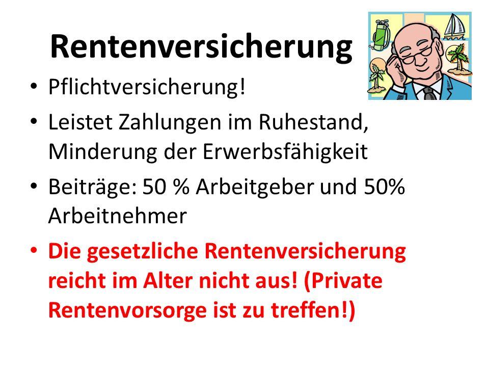 Rentenversicherung Pflichtversicherung!