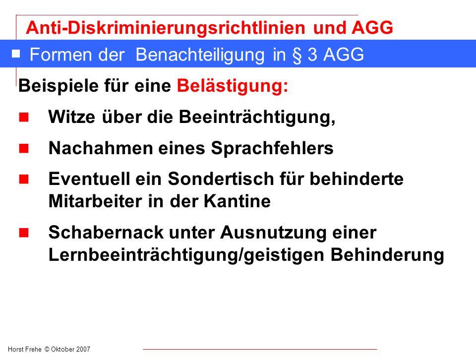 Formen der Benachteiligung in § 3 AGG
