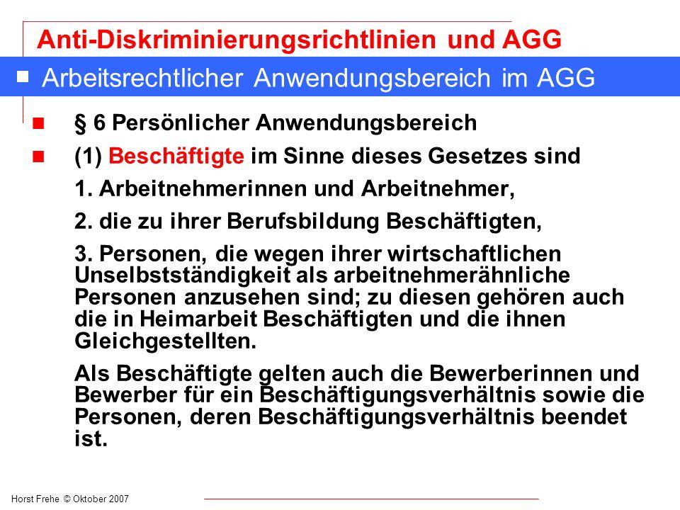 Arbeitsrechtlicher Anwendungsbereich im AGG