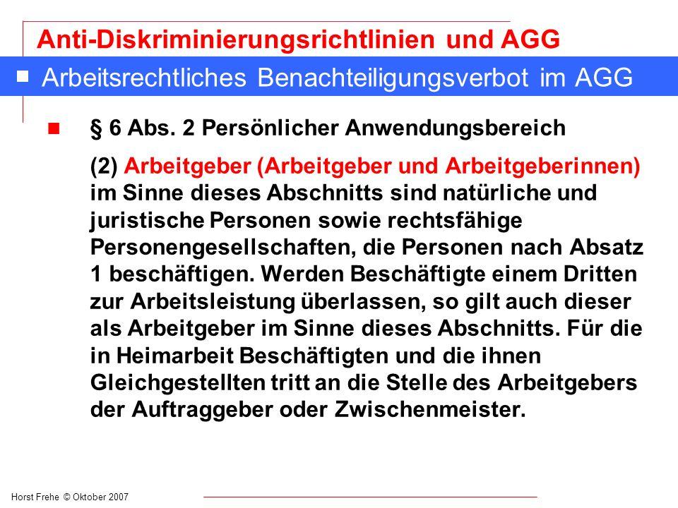 Arbeitsrechtliches Benachteiligungsverbot im AGG