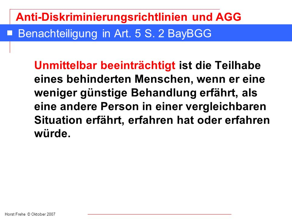 Benachteiligung in Art. 5 S. 2 BayBGG