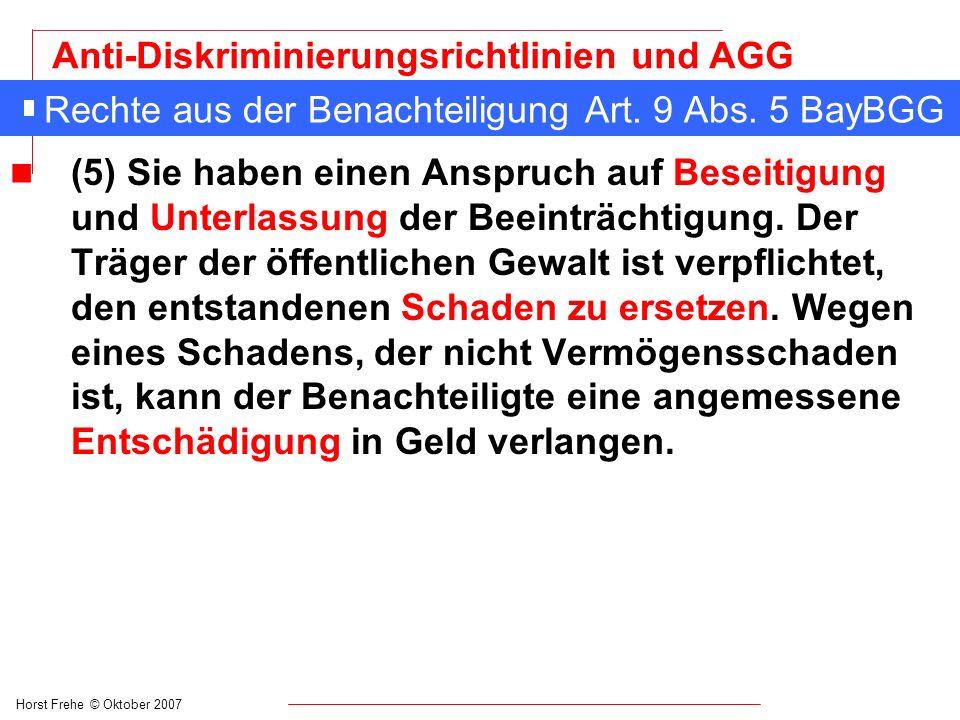 Rechte aus der Benachteiligung Art. 9 Abs. 5 BayBGG