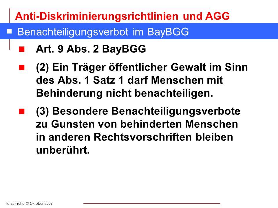 Benachteiligungsverbot im BayBGG