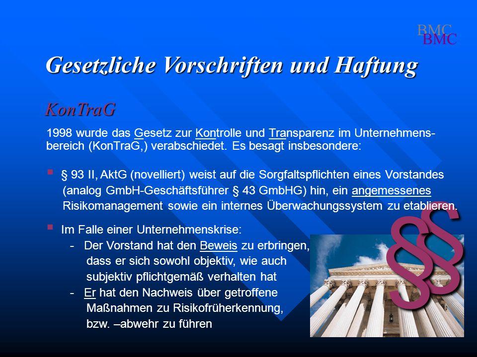 § § Gesetzliche Vorschriften und Haftung KonTraG BMC