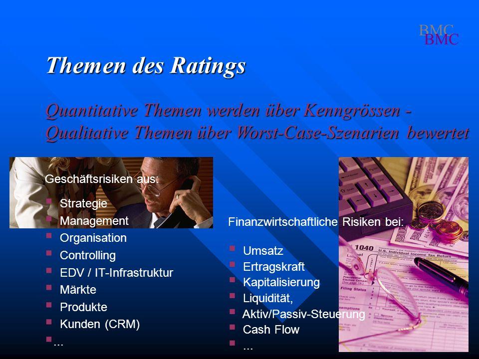 BMC Themen des Ratings. Quantitative Themen werden über Kenngrössen - Qualitative Themen über Worst-Case-Szenarien bewertet.