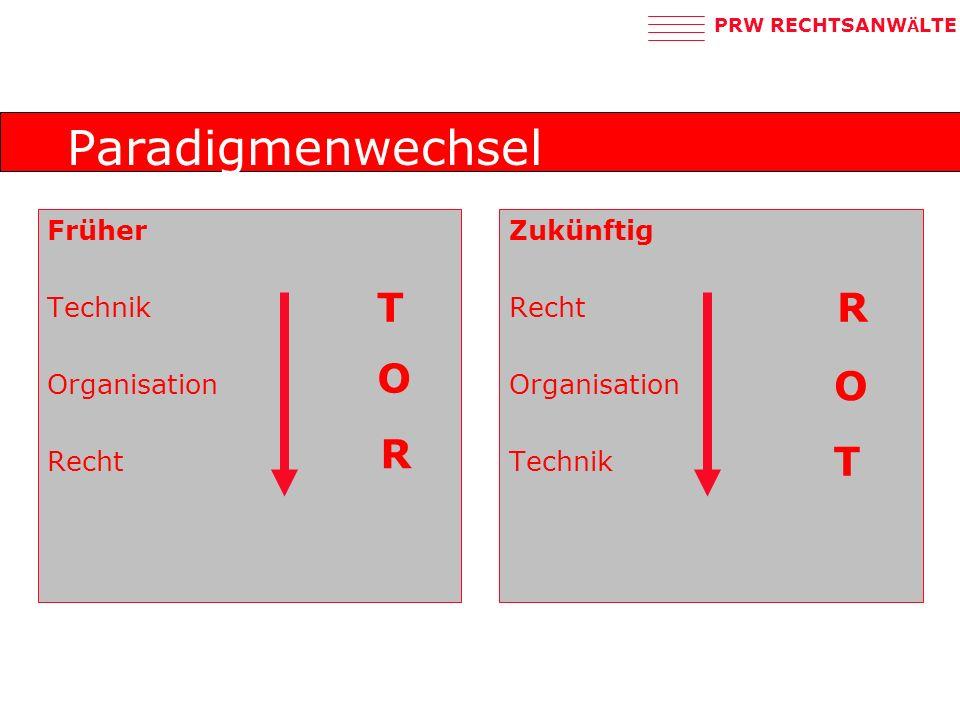 Paradigmenwechsel T R O O R T Früher Technik Organisation Recht