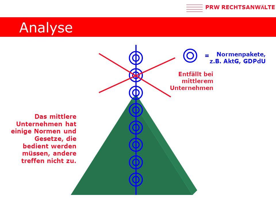 Analyse = Normenpakete, z.B. AktG, GDPdU. Entfällt bei mittlerem Unternehmen.