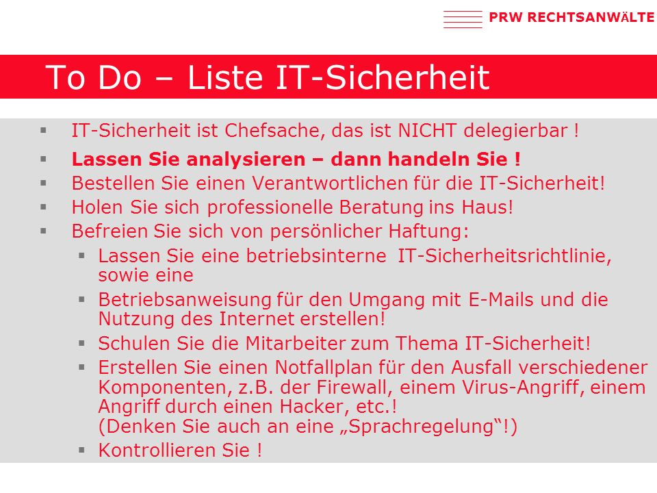 To Do – Liste IT-Sicherheit