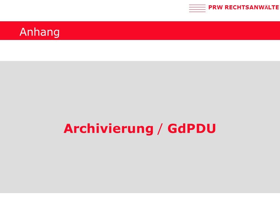 Anhang Archivierung / GdPDU
