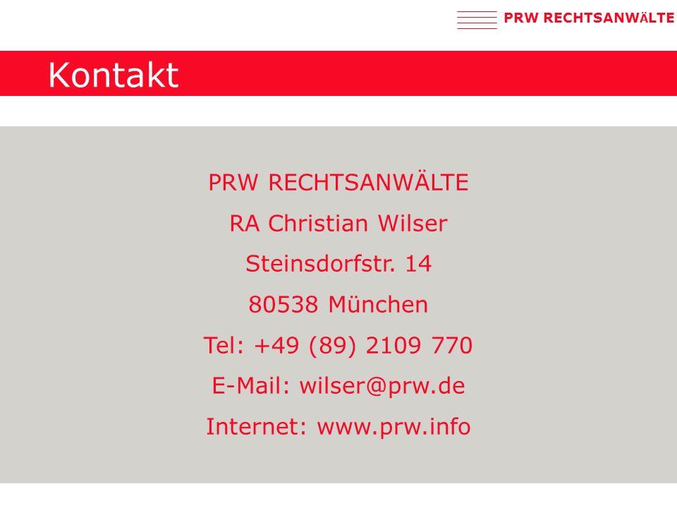 Kontakt PRW RECHTSANWÄLTE RA Christian Wilser Steinsdorfstr. 14