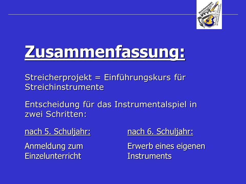 Zusammenfassung: Streicherprojekt = Einführungskurs für Streichinstrumente. Entscheidung für das Instrumentalspiel in zwei Schritten:
