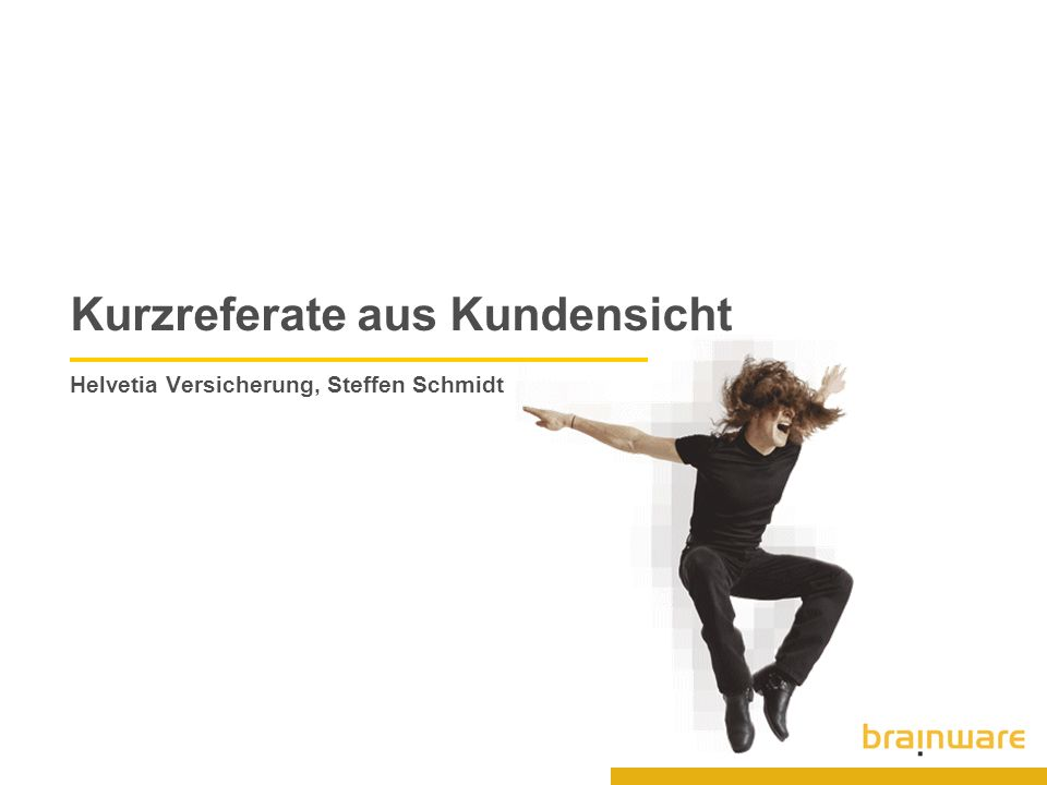 Kurzreferate aus Kundensicht Helvetia Versicherung, Steffen Schmidt