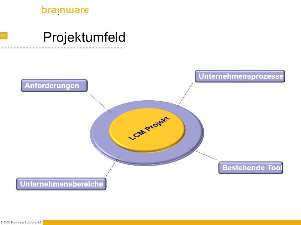Projektumfeld LCM Projekt Unternehmensprozesse Anforderungen