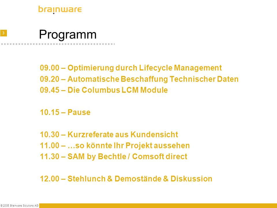 Programm 09.00 – Optimierung durch Lifecycle Management
