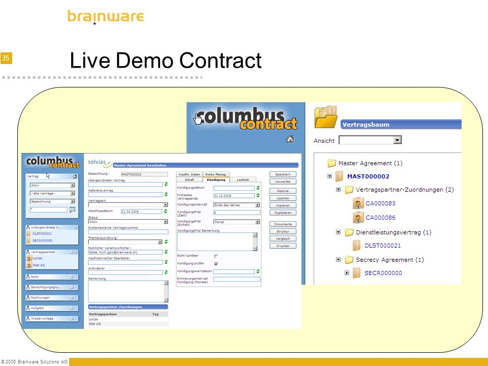 Live Demo Contract © 2005 Brainware Solutions AG