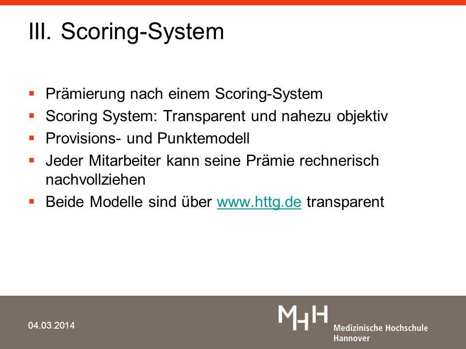 III. Scoring-System Prämierung nach einem Scoring-System