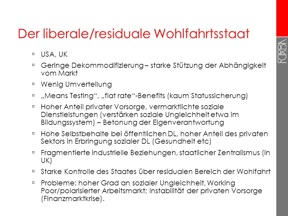 Der liberale/residuale Wohlfahrtsstaat