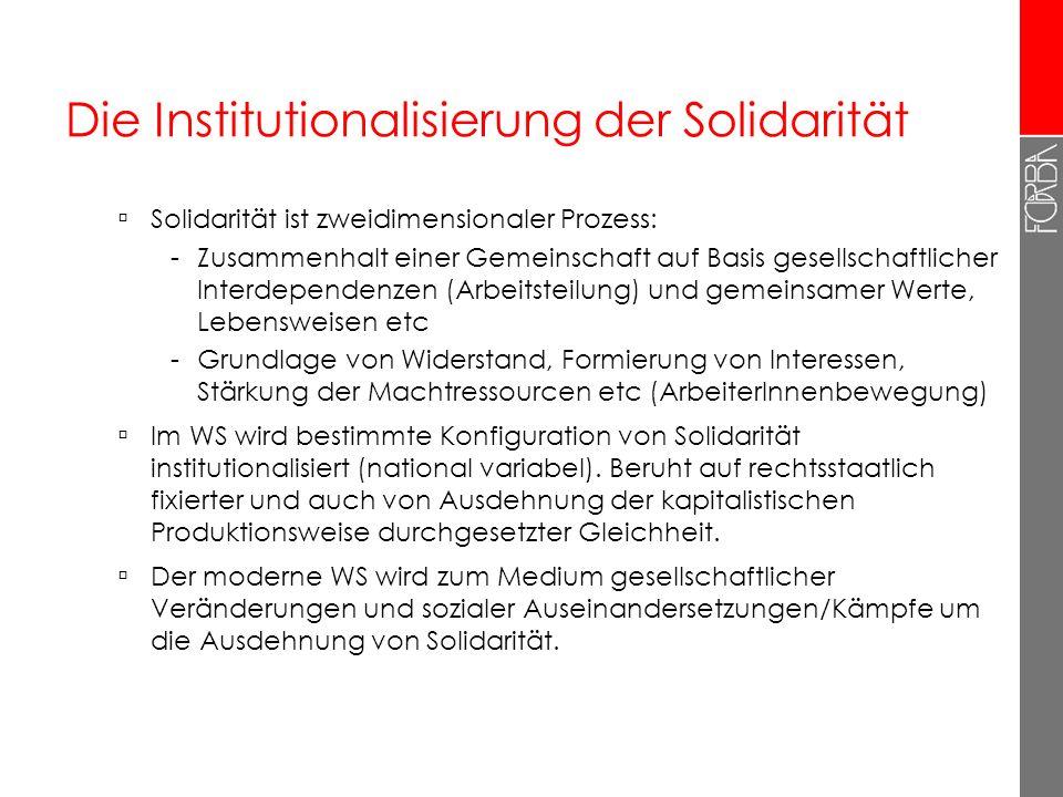 Die Institutionalisierung der Solidarität