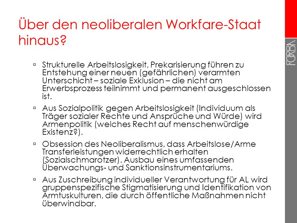 Über den neoliberalen Workfare-Staat hinaus