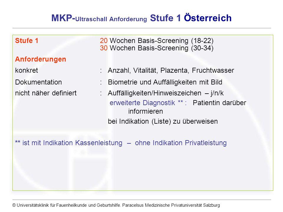 MKP-Ultraschall Anforderung Stufe 1 Österreich