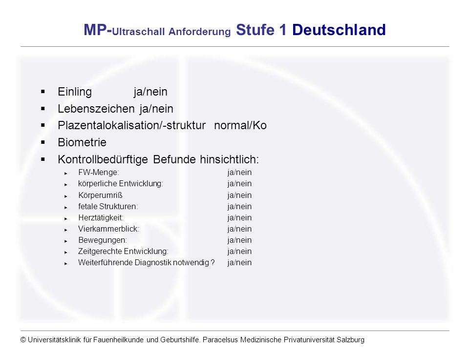 MP-Ultraschall Anforderung Stufe 1 Deutschland