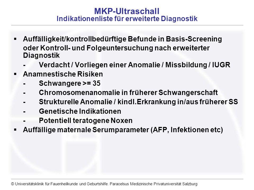 MKP-Ultraschall Indikationenliste für erweiterte Diagnostik