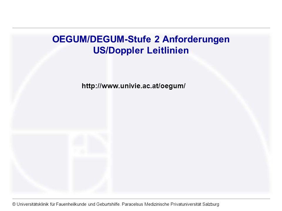 OEGUM/DEGUM-Stufe 2 Anforderungen US/Doppler Leitlinien