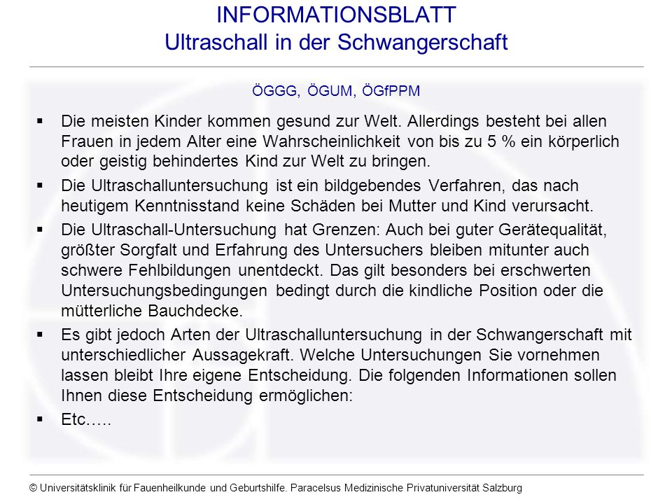 INFORMATIONSBLATT Ultraschall in der Schwangerschaft ÖGGG, ÖGUM, ÖGfPPM