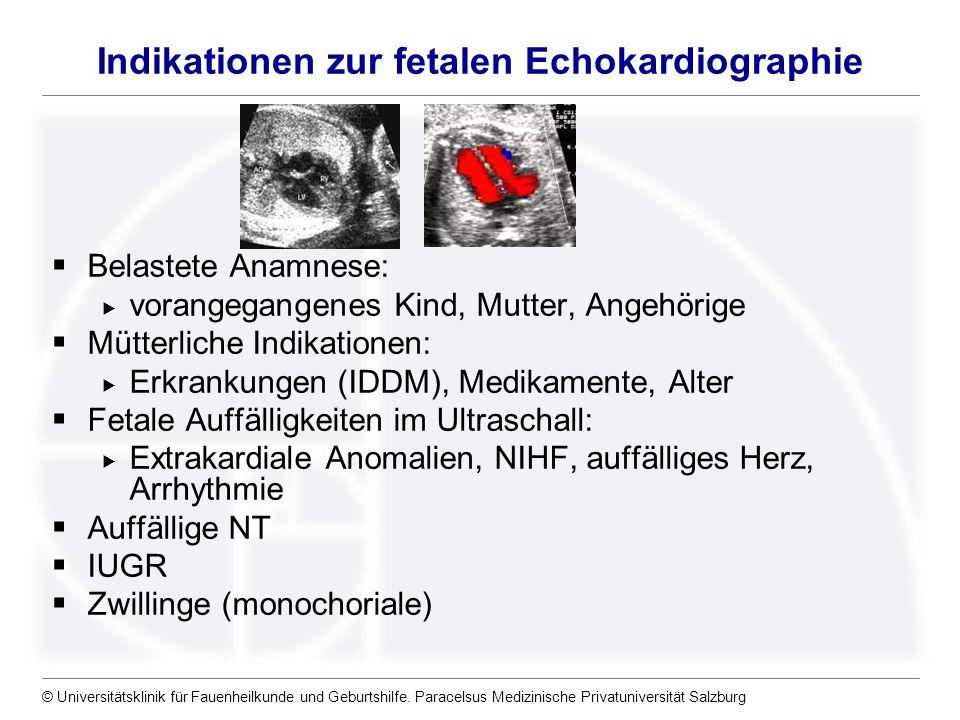 Indikationen zur fetalen Echokardiographie