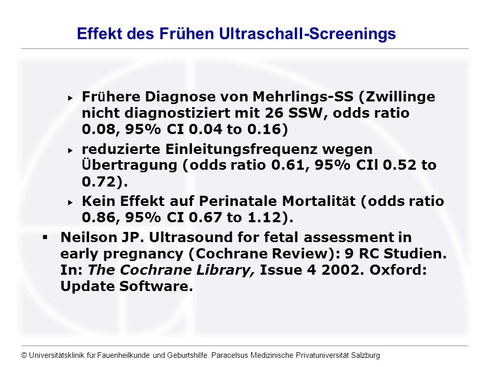 Effekt des Frühen Ultraschall-Screenings