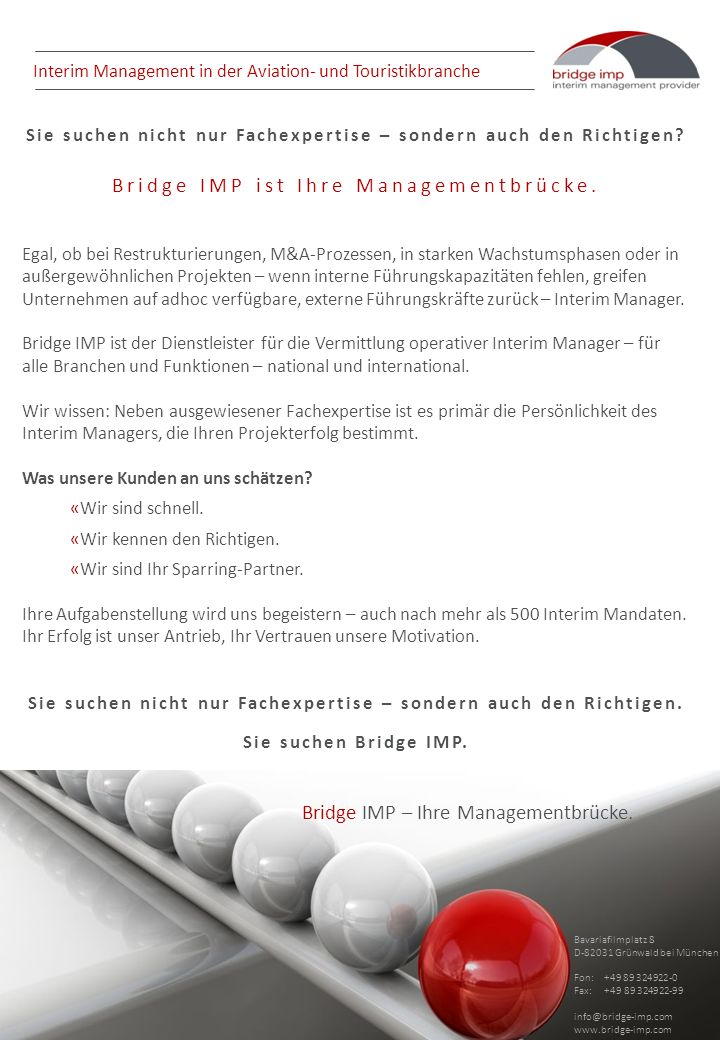 Interim Management in der Aviation- und Touristikbranche