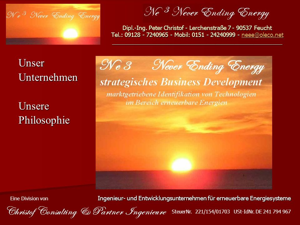 Unser Unternehmen Unsere Philosophie