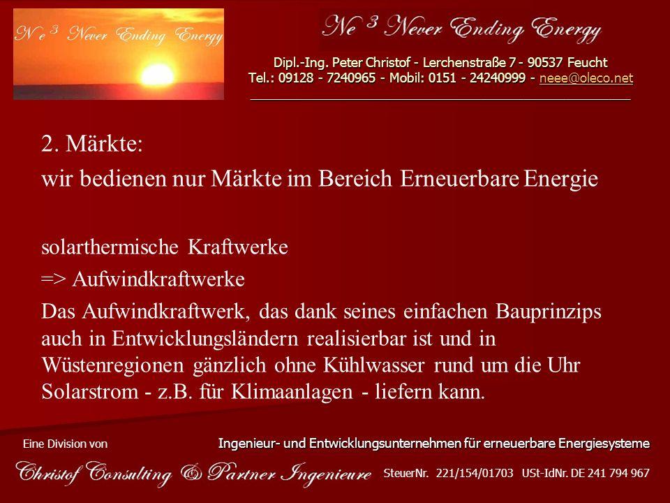 wir bedienen nur Märkte im Bereich Erneuerbare Energie