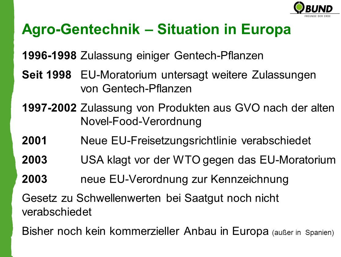 Agro-Gentechnik – Situation in Europa