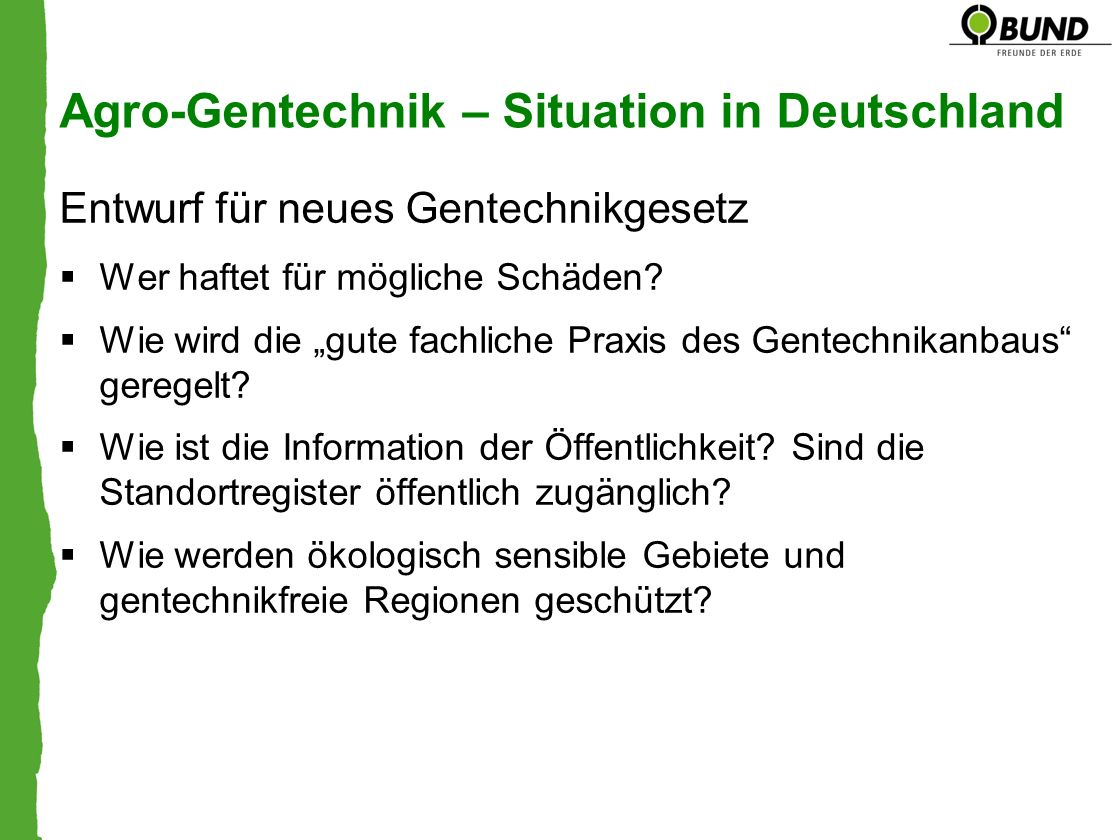 Agro-Gentechnik – Situation in Deutschland