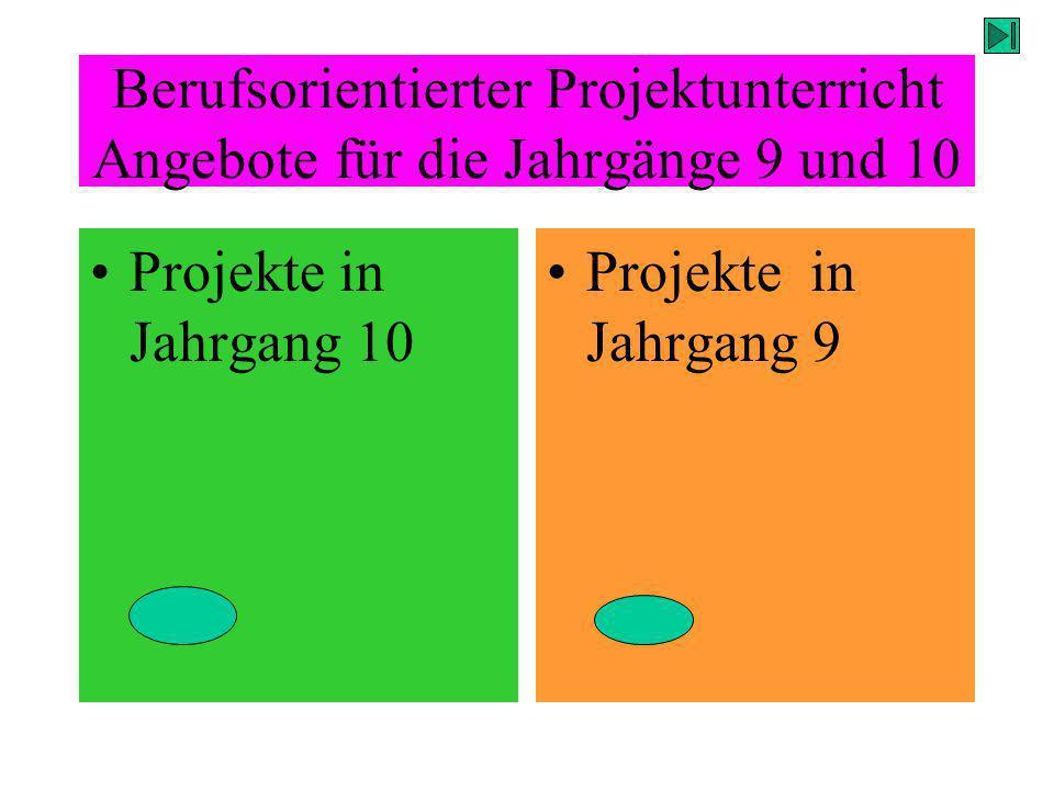 Berufsorientierter Projektunterricht Angebote für die Jahrgänge 9 und 10