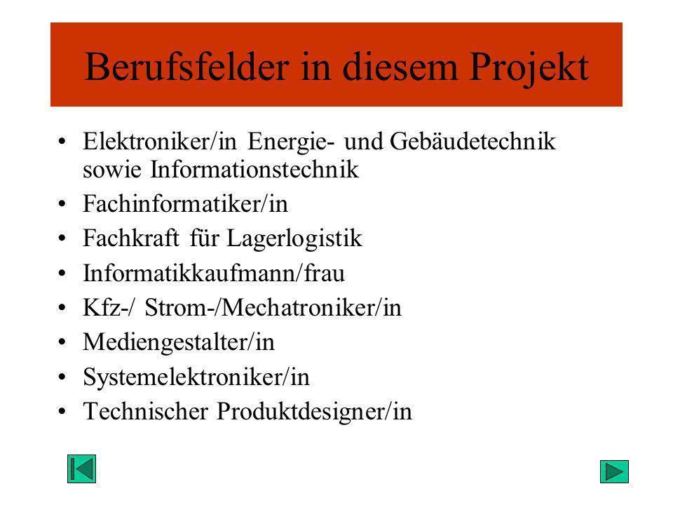 Berufsfelder in diesem Projekt