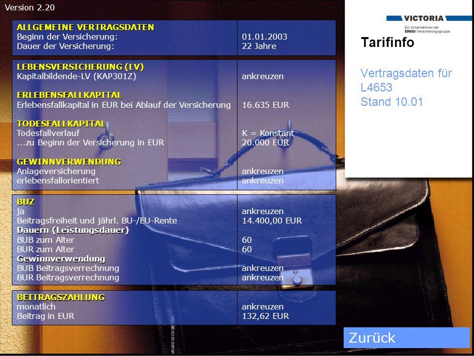 Tarifinfo Vertragsdaten für L4653 Stand 10.01